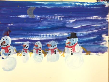 Zeichnungsprojekt: Schneemannfamilie