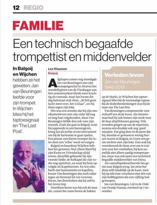 """Jan van Beuningen in rubriek """"Familie"""" van de Gelderlander"""