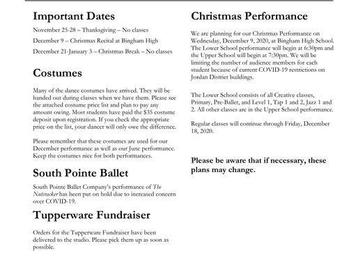 November 2020 Newsletter & Costume Price List
