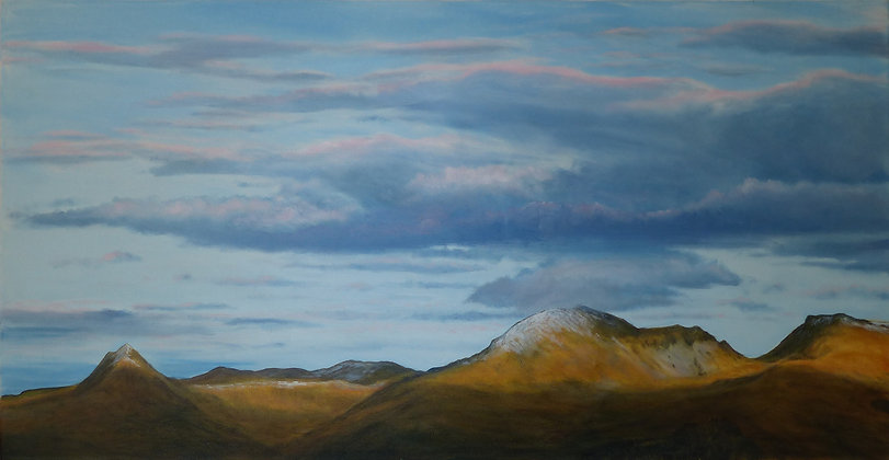 Cnicht and the Moelwyns at sunset from the hil Landscape - North Wales In Winter