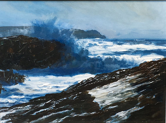 Big Surf at Raven Point, Treaddur Bay, Anglesey. En Plein air - North Wales