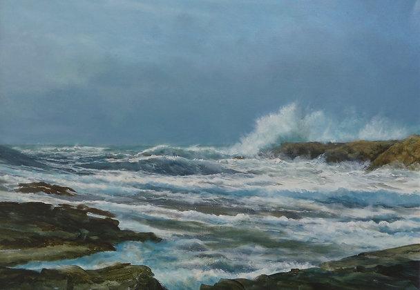Wild Surf Near Treaddur, Isle of Anglesey
