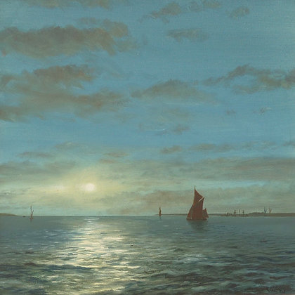 Thames Sailing Barge by Moonlight, Thames Estuary