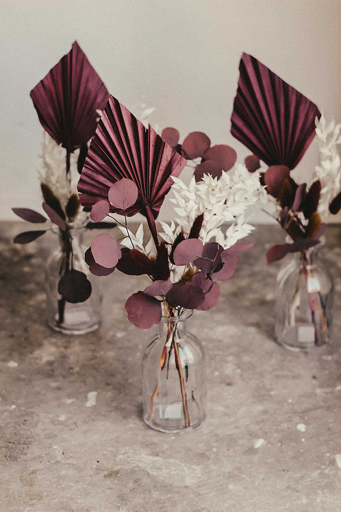 Bordeaux | Trockenblumen Sträuße mit Flaschenvase