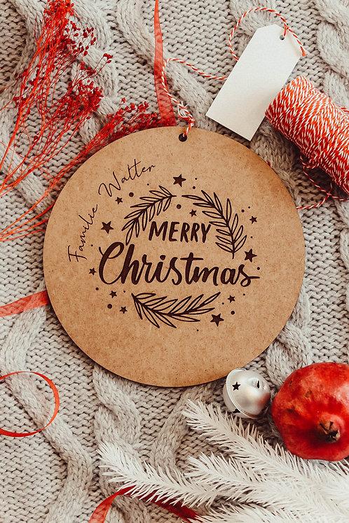Personalisiertes Familien Holzschild | Gravur Weihnachten