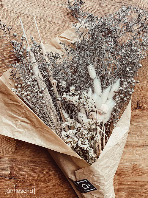 Trockenblumen Strauß   Silberne Weihnachten