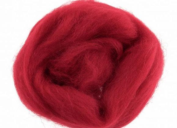 Natural Wool Roving: 10g: Dark Red