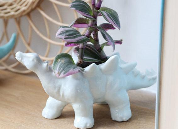 White Stegosaurus Dinosaur Planter