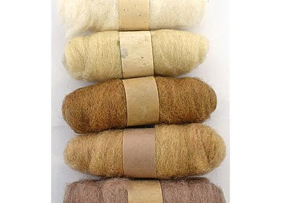 Felting Wool: 5 x 20g rolls - Browns