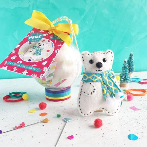Felt Polar Bear Bauble Craft Kit