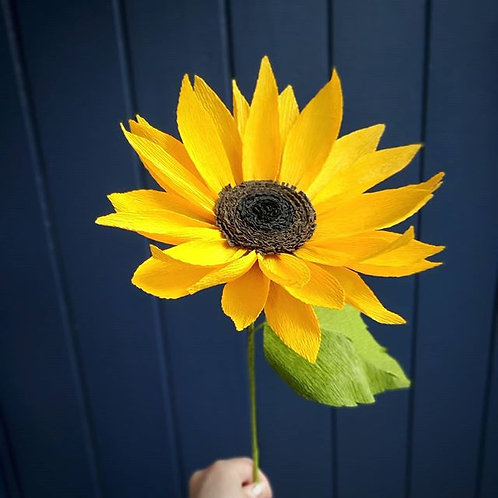 Handcrafted crepe paper sunflower