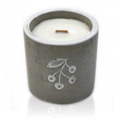 Concrete Wooden Wick Candle - Juniper & Sweet Gin