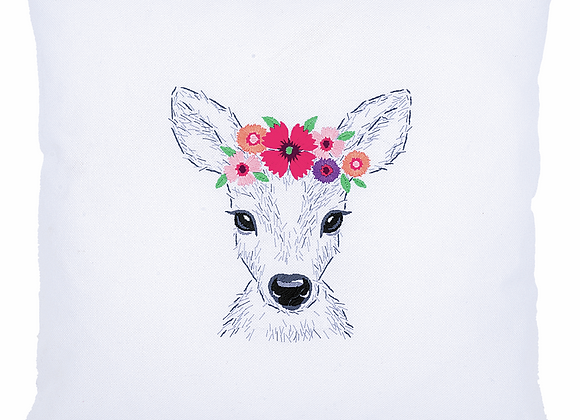Deer with flower embroidery kit