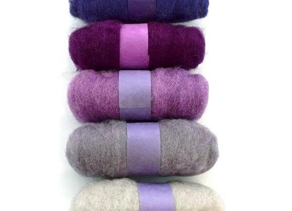 Felting Wool: 5 x 20g rolls - Purples