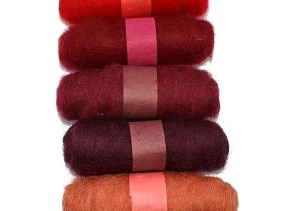 Felting Wool: 5 x 20g rolls - Reds