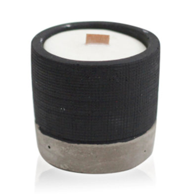 Concrete Wooden Wick Candle - Brandy Butter