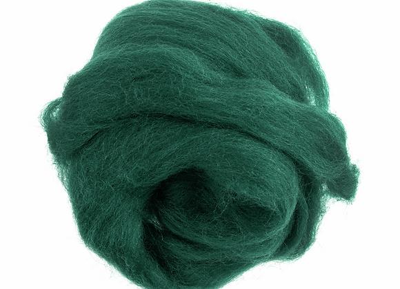 Natural Wool Roving: 50g: Green