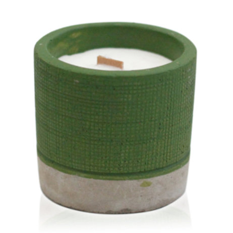 Concrete Wooden Wick Candle - Sea Moss & Herbs