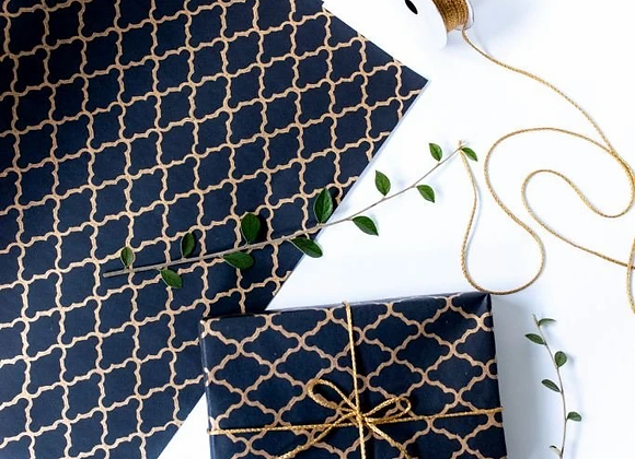 Black Block Print Gift Wrap