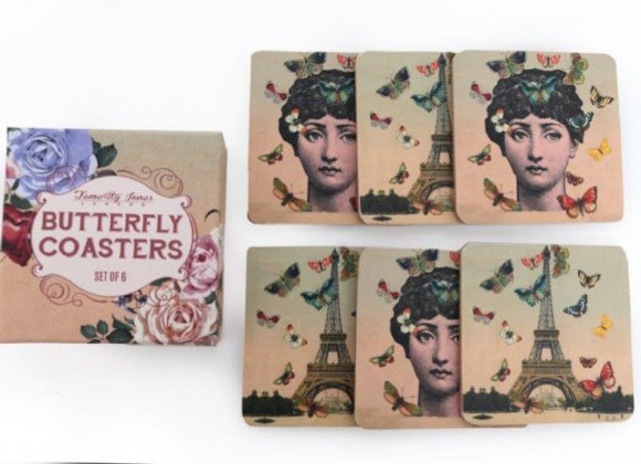 Mademoiselle Butterfly coasters (set of 6)
