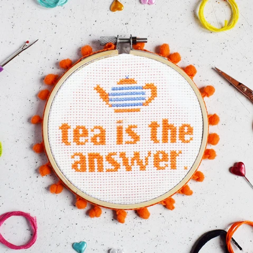 Tea Is The Answer Cross Stitch Kit
