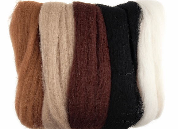 Natural Wool Roving: 50g: Assorted Browns