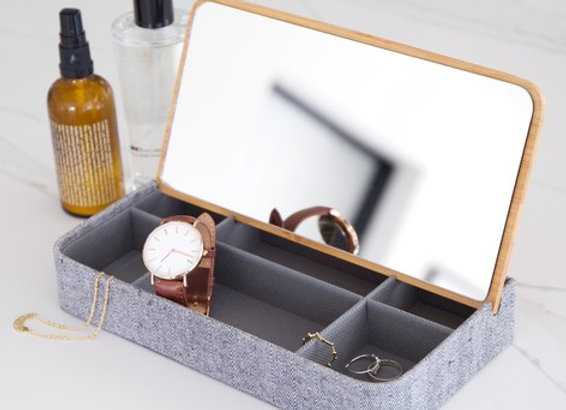 Grey fabric and bamboo lid jewellery box