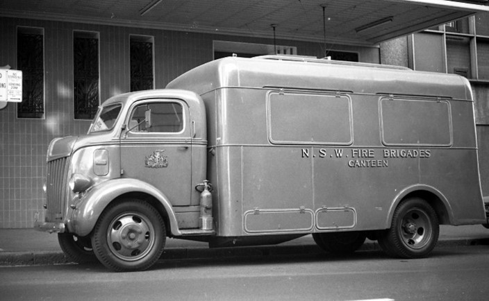 Ford Canteen parked on street at Headquarters Fire Station, c. 1970