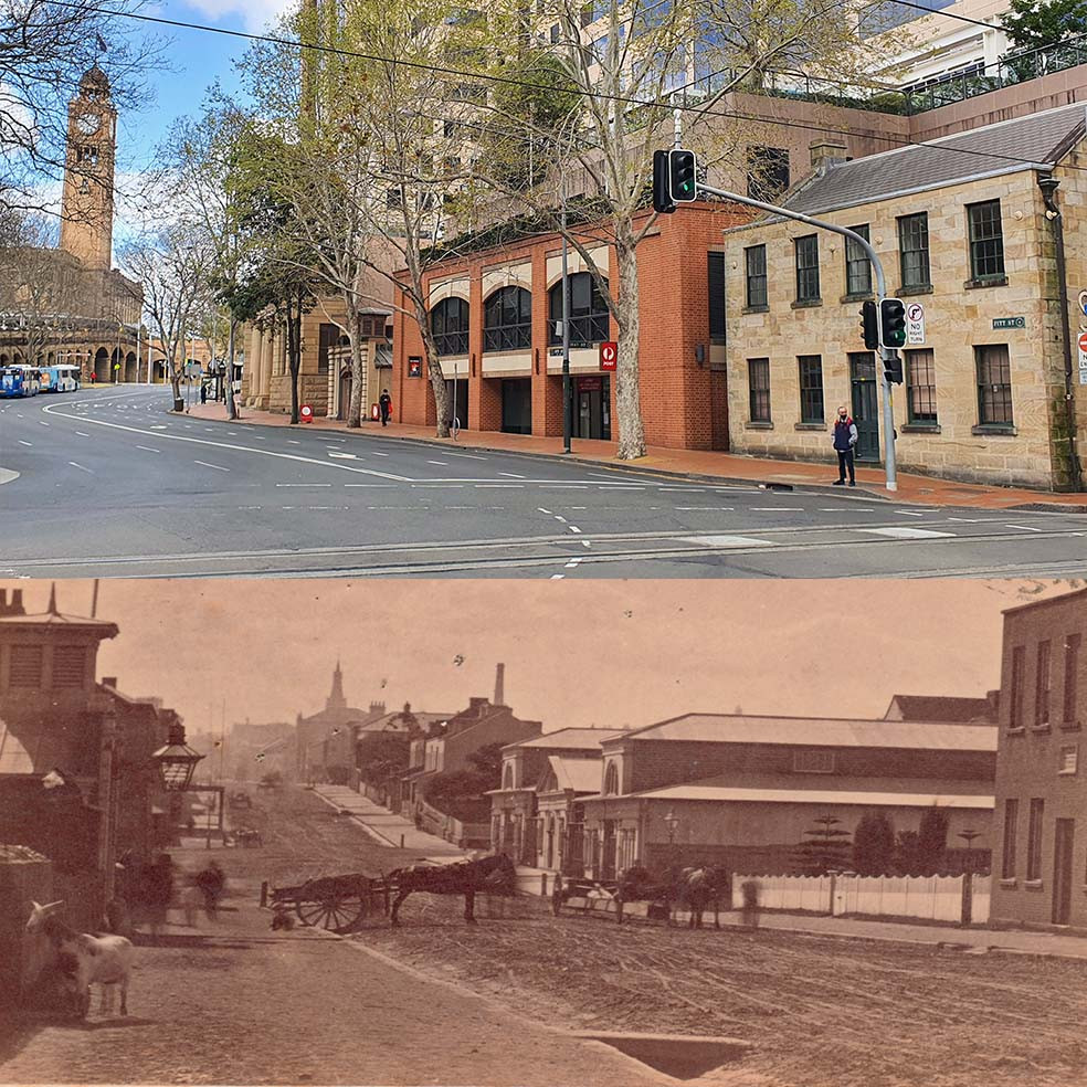 Sydney's Haymarket area today v. the 1870s.