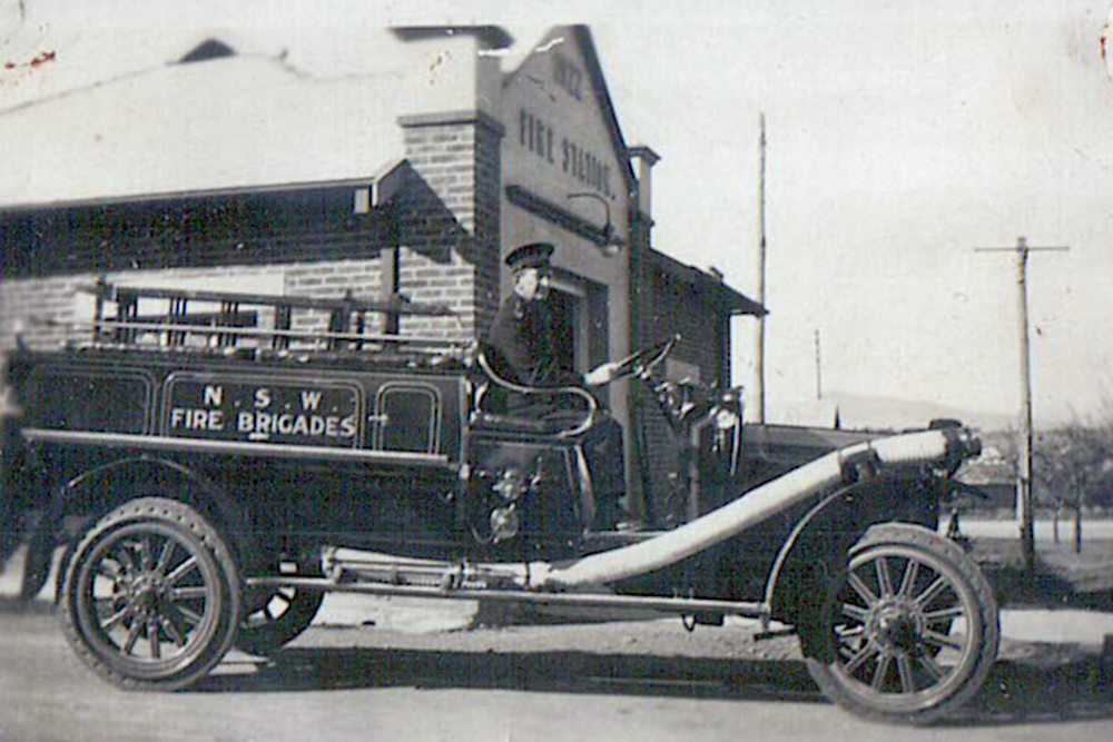 Capt. Moore outside Quirindi Fire Station, c. 1925
