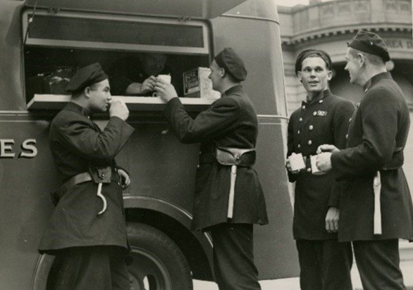 The canteen parked outside Headquarters, c. 1960
