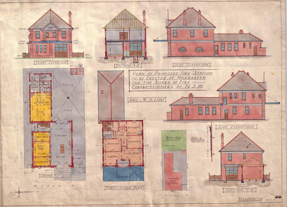 Architects Drawings for the proposed Narrabeen Fire Station, 1931