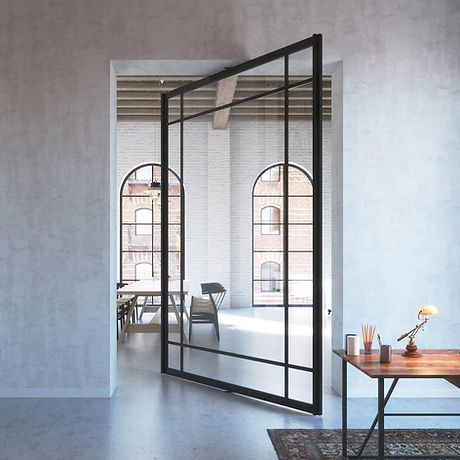 Glass_pivot_door_with_central_axis_pivot