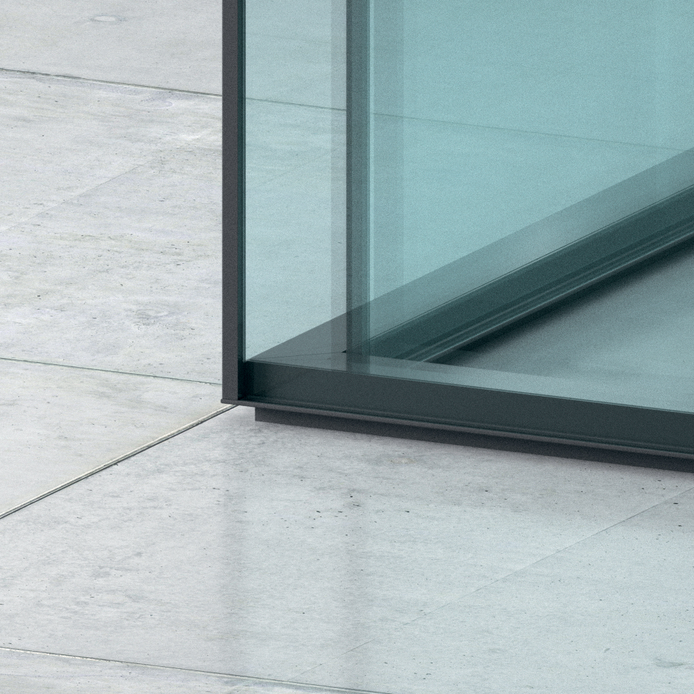 Double Glass Partition Corner