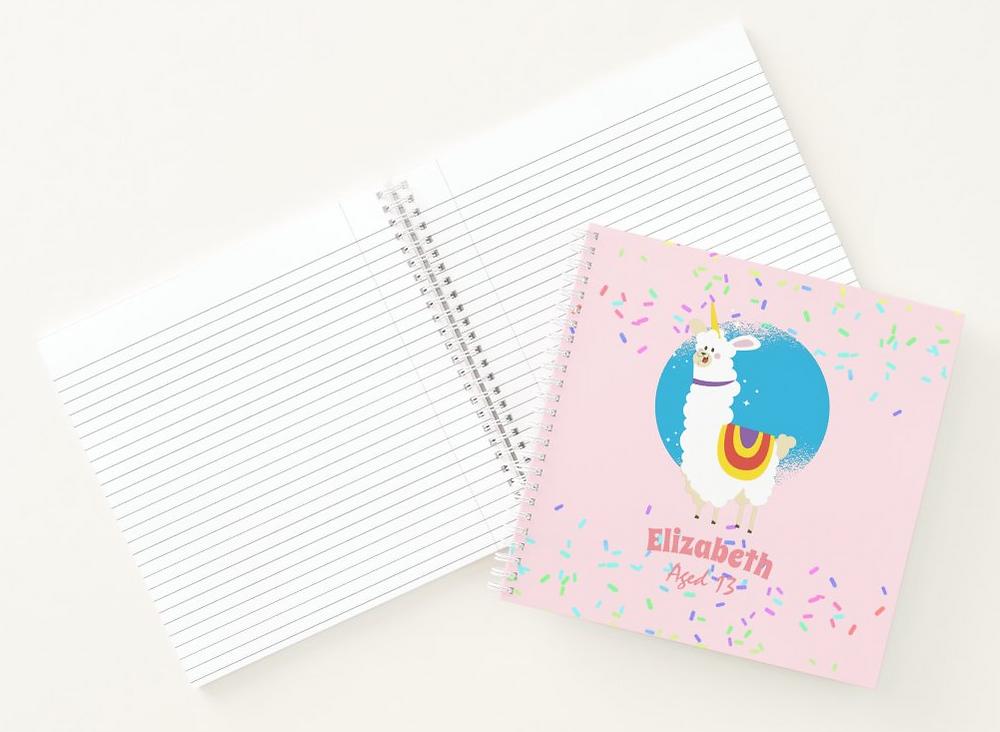 pretty girly designs llama notebook