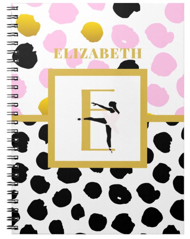 pretty girly ballerina ballet notebook