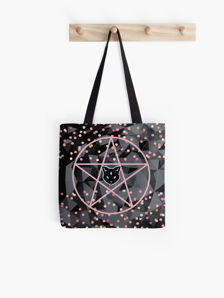 pretty girly designs modern teen witch tote bag