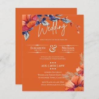 BUDGET Orange Purple Floral Wedding Invite