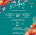 FREE Orange Teal Floral Wedding Invitation – Download and Print Yourself