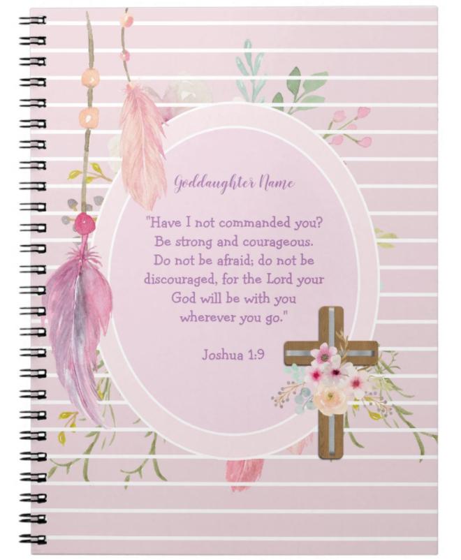 pretty girly designs goddaughter notebook