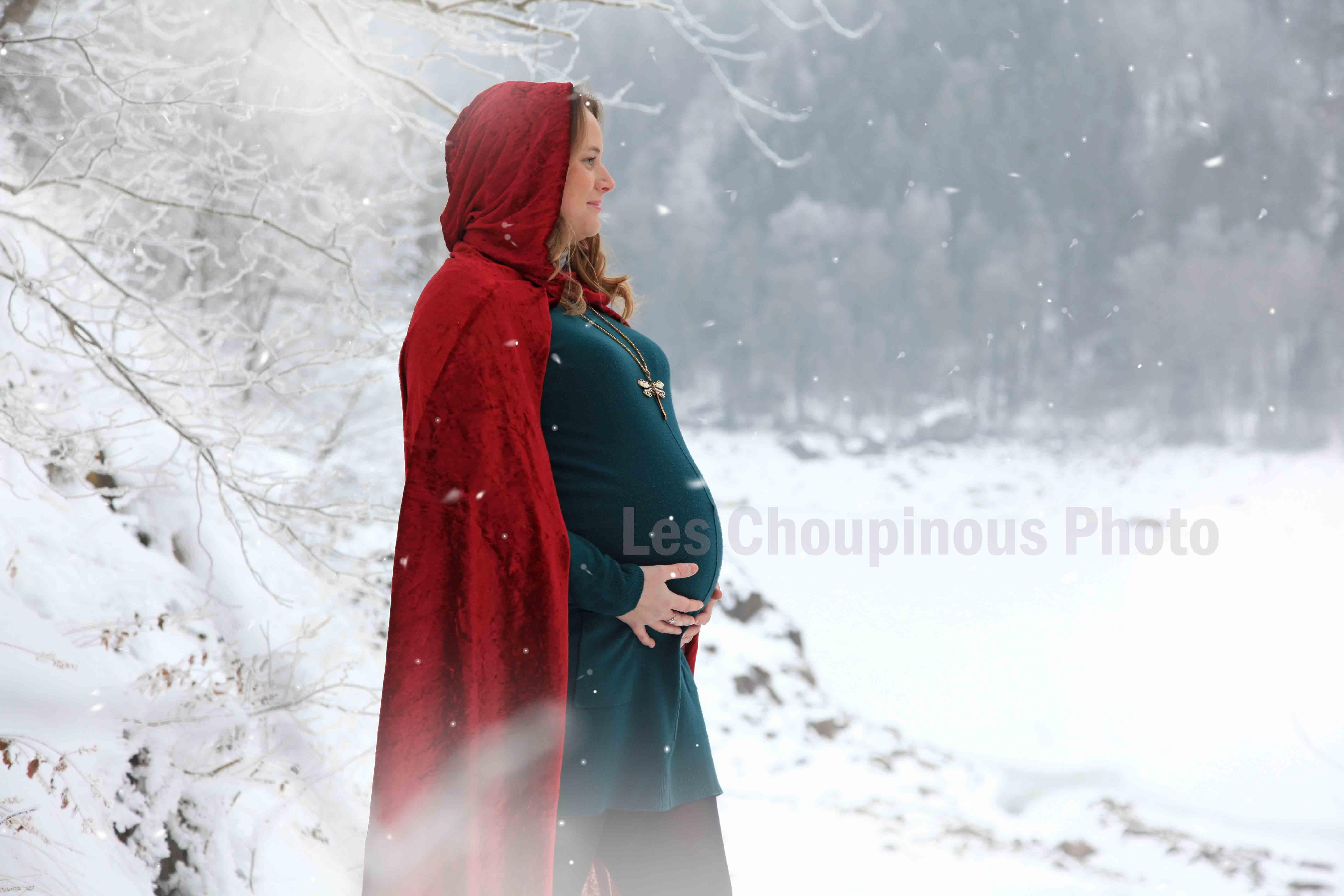 shooting photo grossesse sous la neige