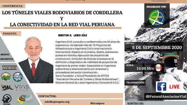 """Sábado 05 de setiembre de 2020 - Webinar: 🏗  """"Los Túneles Viales Rodoviarios de Cordillera y l"""