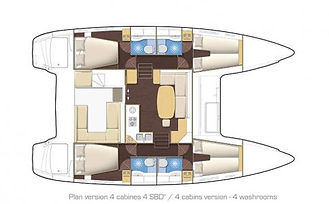 Naxos Yachting Catamaran DANAE (Lagoon 400) layout