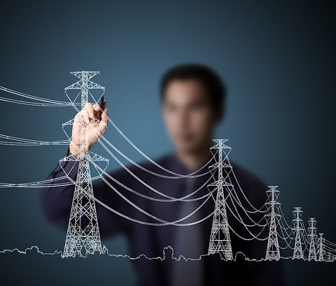 business man drawing industrial electric pylon and wire