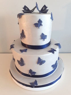 Two tier butterfly wedding cake