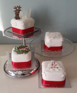 Four mini Christmas Cakes