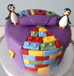 Brick and Penguin cake