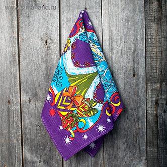 Полотенце вафельное «С Новым годом» 45х60 см,фиолетовый,160 г/м2, хлопок 100%