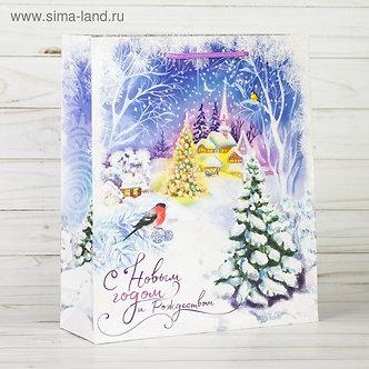 Пакет ламинированный вертикальный с блестками «Сказка зимнего леса», 12 × 15 × 5