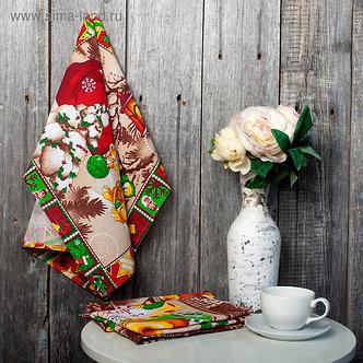 Полотенце вафельное «Новогодние подарки» 45х60см,коричневый,160 г/м2,хлопок 100%
